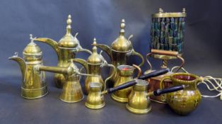 A Selection of Islamic Coffee Pots, measures, copper tea pot, brass lamp and Bideford pottery jug