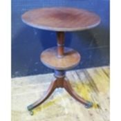 A Mahogany Two Tier Lap Top Pedestal Tripod Table, 77cm tall