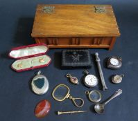 A 19th Century Inlaid Papier Mache Snuff Box, cased part stud set, Victorian locket, gilt fob