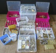 A Large Selection of Watch Parts including ROLEX Dials, watch straps, parts tins, palett jewels,