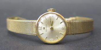 A Ladies TISSOT 9ct Gold Wristwatch with integral bracelet, 17 jewel manual wind movement no.