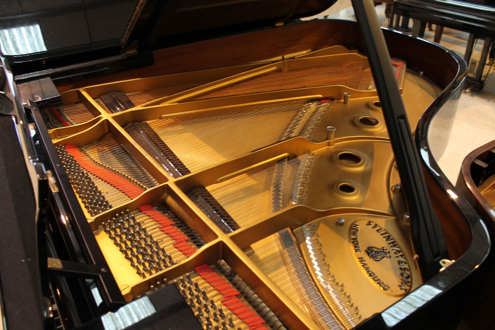Steinway (c1983) A 6ft 2in Model A grand piano in a bright ebonised case on square tapered legs. - Image 4 of 8