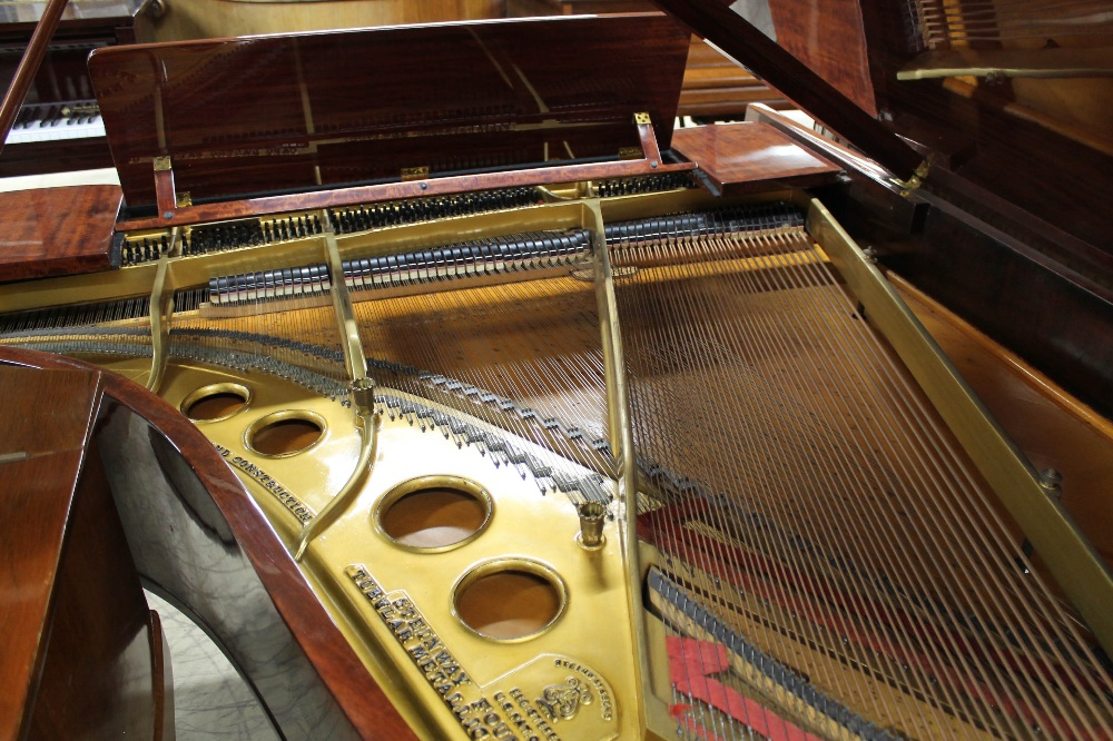 Steinway (c1924) A 5ft 10in Model O grand piano in a fiddleback mahogany case with square tapered - Image 8 of 8