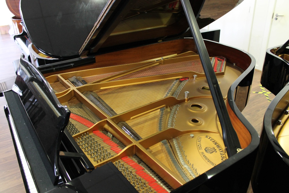 Steinway (c1986) A 6ft 2in Model A grand piano in a bright ebonised case on square tapered legs. - Image 4 of 8