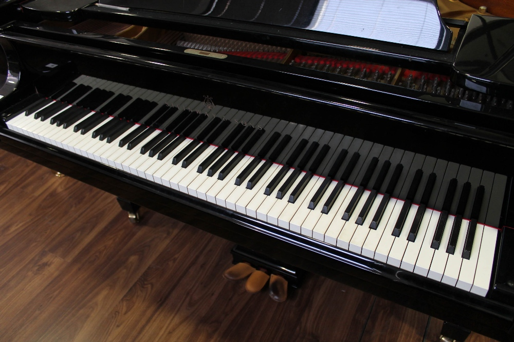 Steinway (c1986) A 6ft 2in Model A grand piano in a bright ebonised case on square tapered legs. - Image 2 of 8