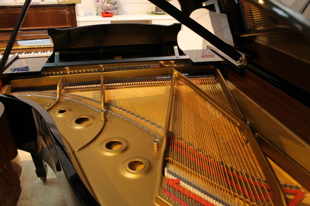 Steinway (c1983) A 6ft 2in Model A grand piano in a bright ebonised case on square tapered legs. - Image 8 of 8