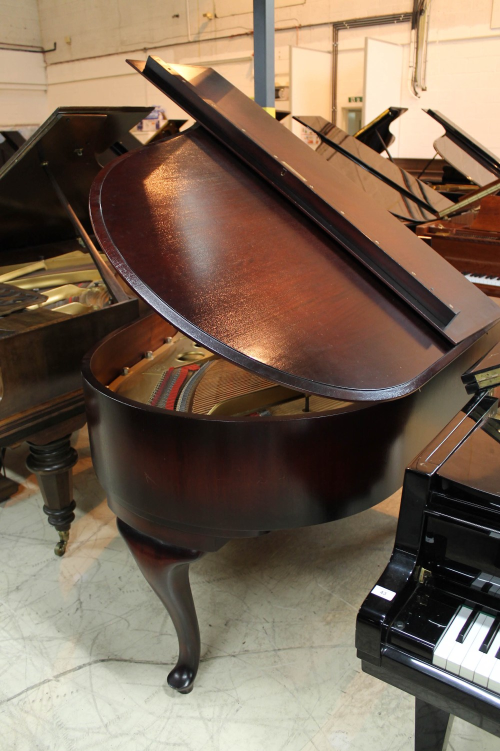 Steinway (c1940) A 5ft 10in Model O grand piano in a mahogany case on cabriole legs; - Image 7 of 9