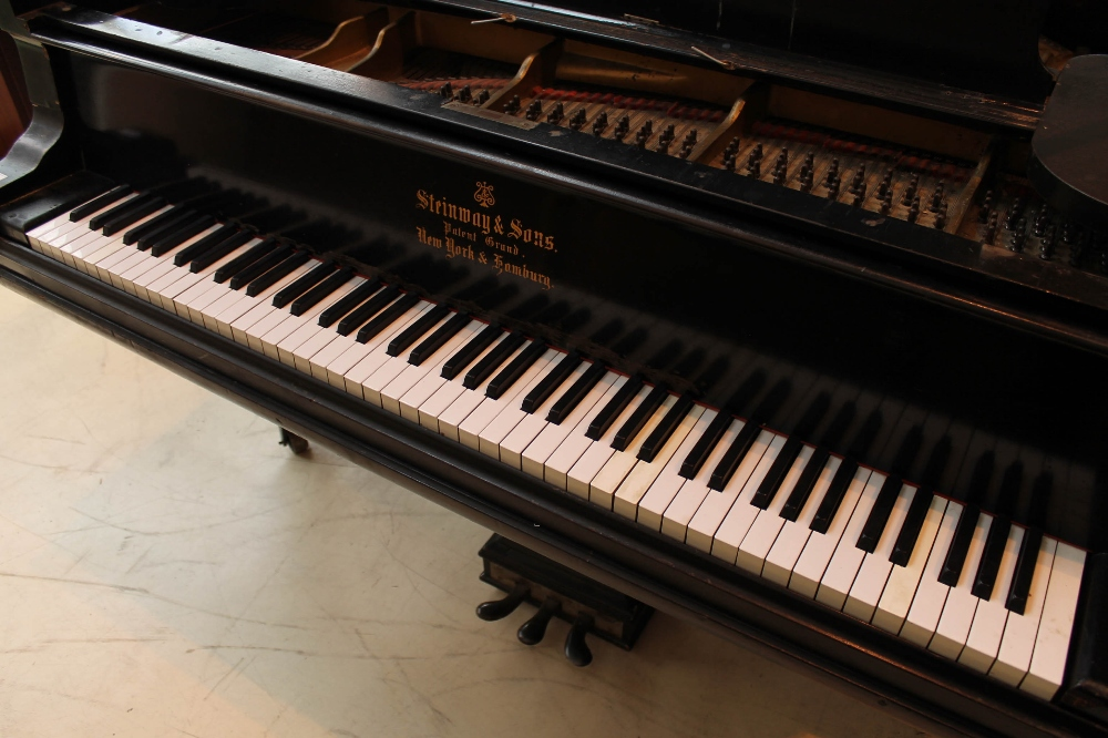 Steinway (c1888) A 9ft concert grand piano in an ebonised case on turned legs. - Image 2 of 8