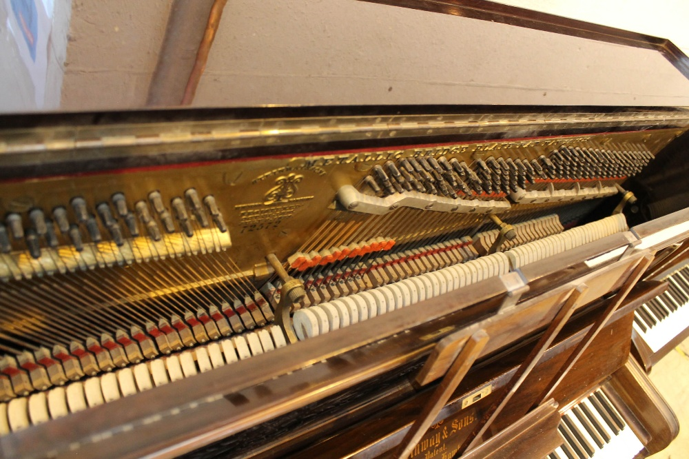 Steinway (c1892) An upright piano in a rosewood case; together with a stool. - Image 4 of 5