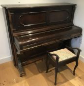 Steinway (c1896) A Model E upright piano in a rosewood case; together with a stool.
