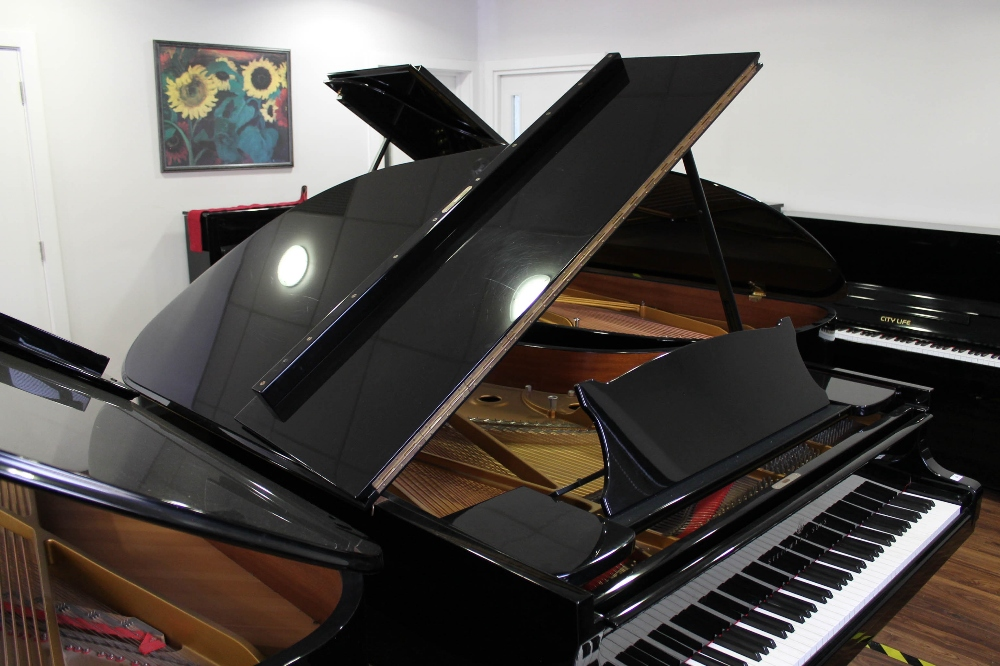 Steinway (c1986) A 6ft 2in Model A grand piano in a bright ebonised case on square tapered legs. - Image 6 of 8