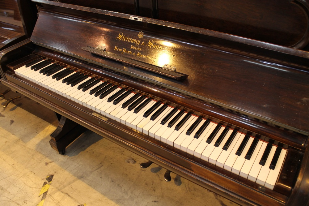 Steinway (c1896) A Model E upright piano in a rosewood case; together with a stool. - Image 2 of 5