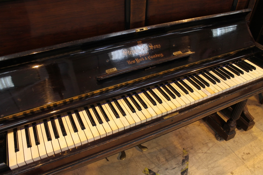 Steinway (c1902) A Style 1 upright piano in a rosewood case. - Image 2 of 4