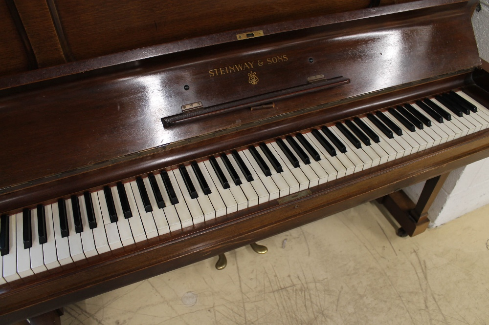 Steinway (c1929) A Model K upright piano in a mahogany case; together with a stool. - Image 2 of 5