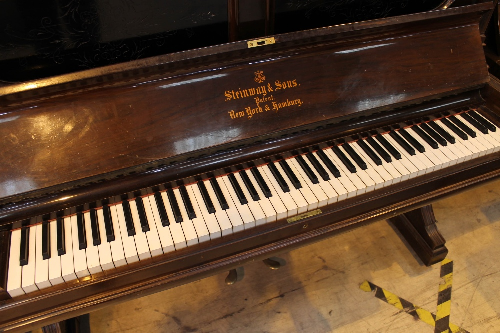 Steinway (c1892) An upright piano in a rosewood case; together with a stool. - Image 2 of 5