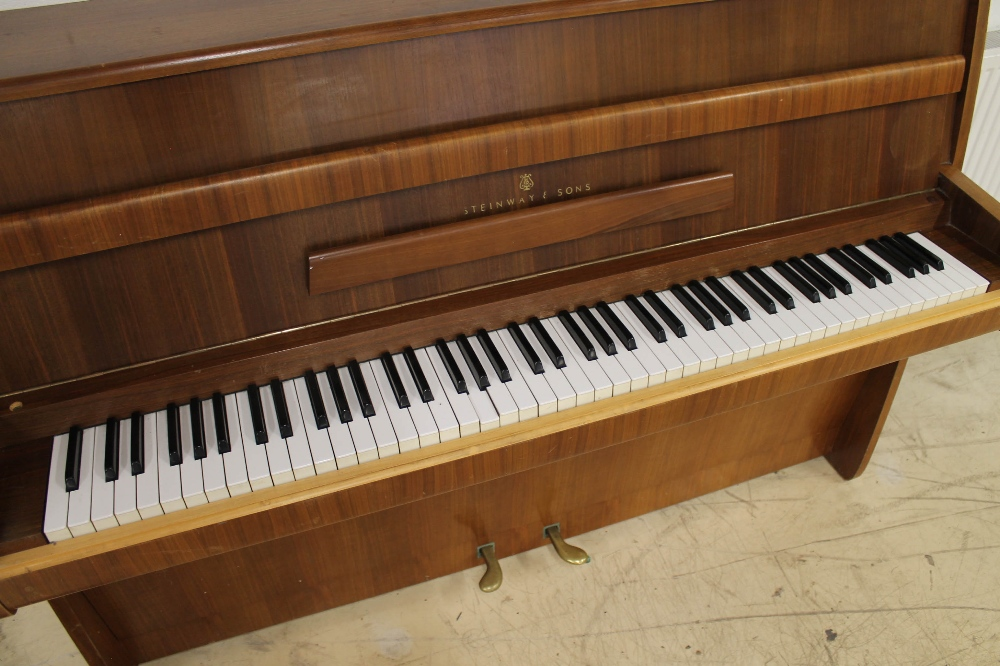 Steinway (c1964) A Model Z upright piano in a modern style walnut case; together with a stool. - Image 2 of 5