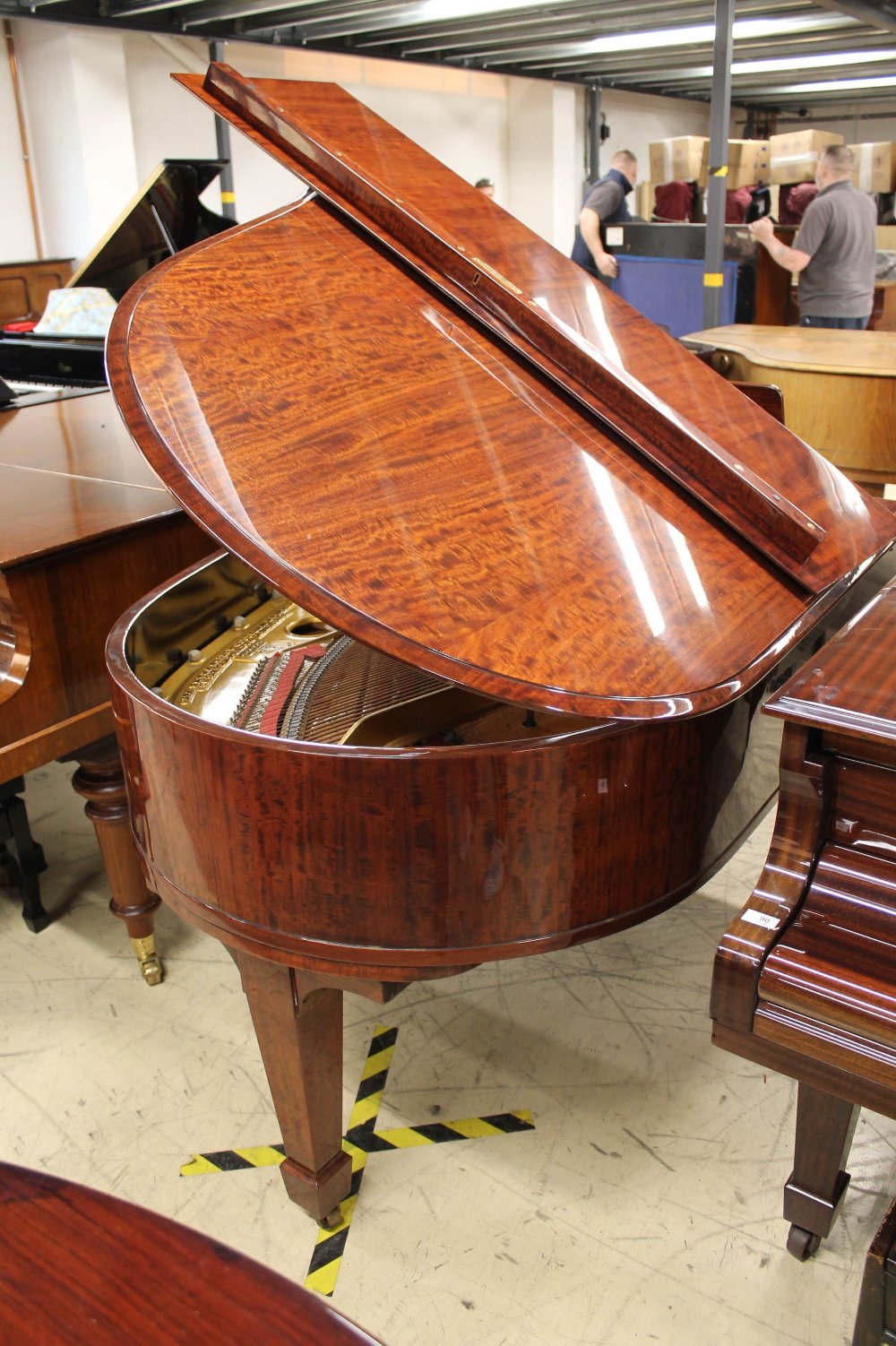 Steinway (c1924) A 5ft 10in Model O grand piano in a fiddleback mahogany case with square tapered - Image 7 of 8