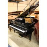 Broadwood A recent 6ft 3in grand piano in a bright ebonised case on square tapered legs.