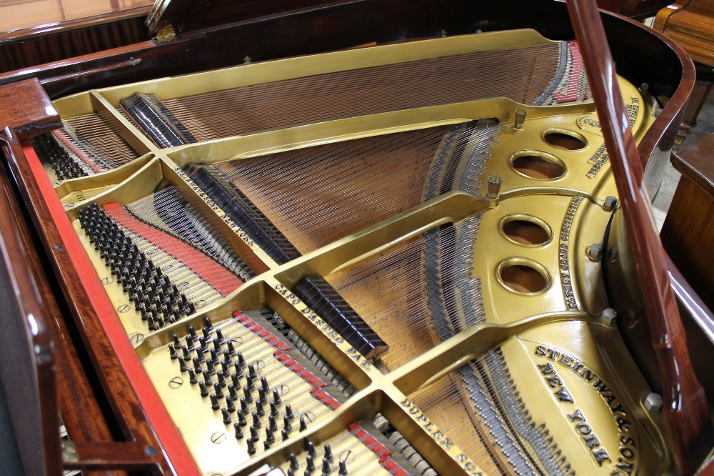 Steinway (c1924) A 5ft 10in Model O grand piano in a fiddleback mahogany case with square tapered - Image 4 of 8