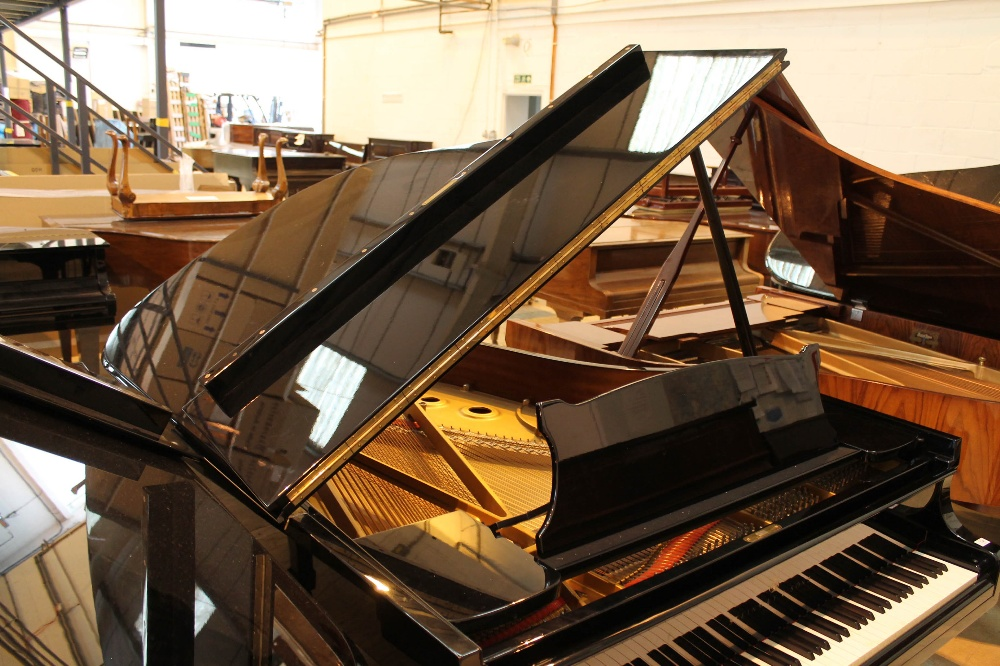 Steinway (c1983) A 6ft 2in Model A grand piano in a bright ebonised case on square tapered legs. - Image 6 of 8