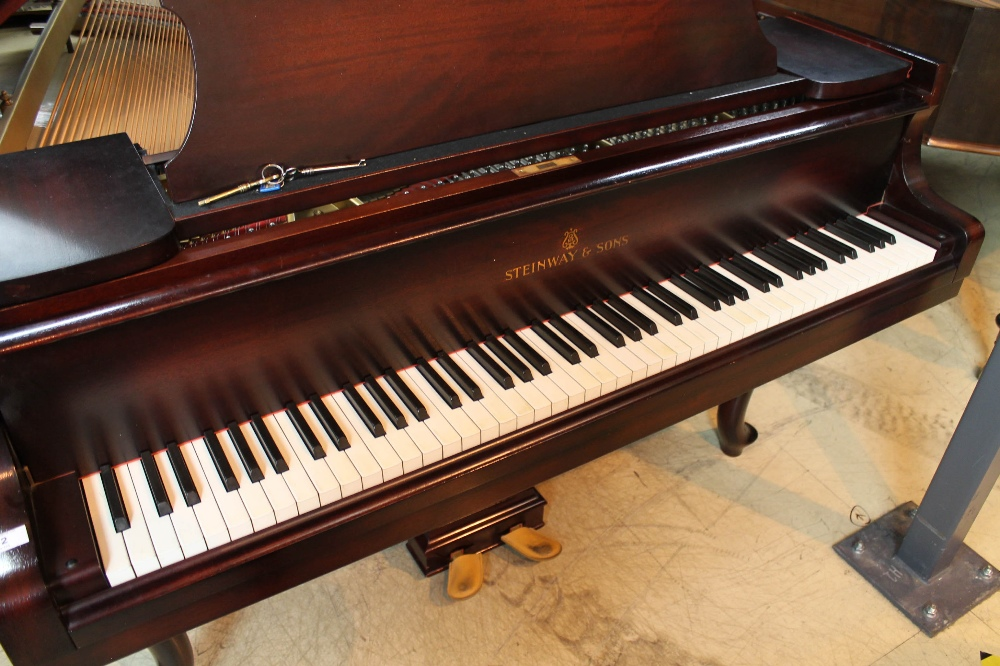 Steinway (c1940) A 5ft 10in Model O grand piano in a mahogany case on cabriole legs; - Image 2 of 9
