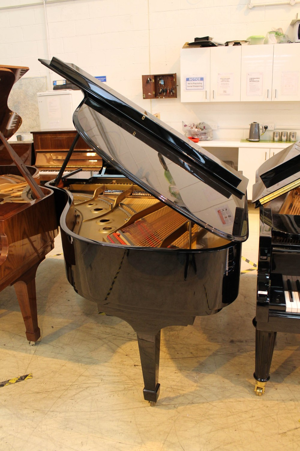 Steinway (c1983) A 6ft 2in Model A grand piano in a bright ebonised case on square tapered legs. - Image 7 of 8