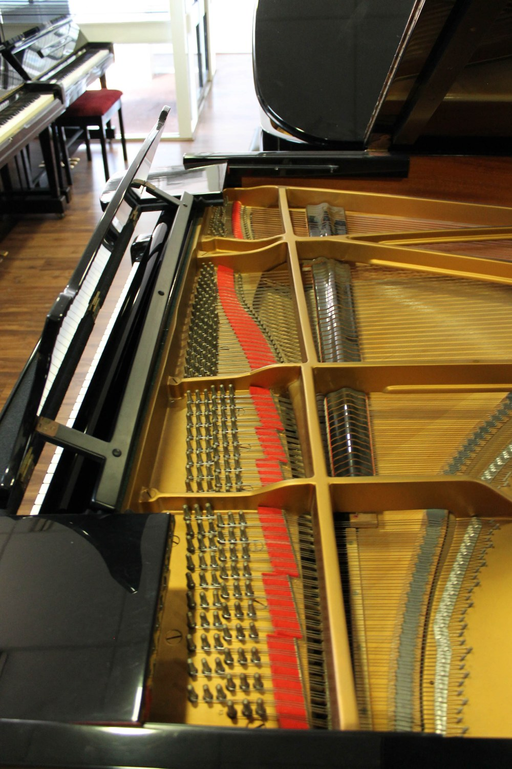 Steinway (c1986) A 6ft 2in Model A grand piano in a bright ebonised case on square tapered legs. - Image 5 of 8