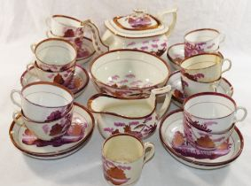 A 19th century Sunderland lustreware teaset for 12 place settings, including a jug, bowl and teapot,