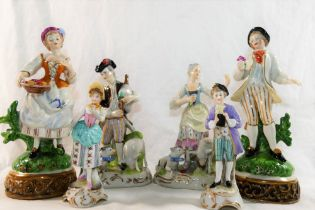 A pair of West German porcelain figures by Martha Budich of a shepherdess and a pipe player,