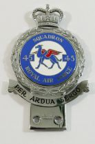 A No. 45 Squadron RAF plated and enamelled car badge, made by J R Gaunt of London, 13.