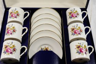 A Royal Worcester 'Posies' pattern bone chain six place coffee set,