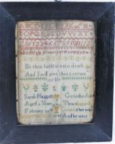 An early Victorian sampler, by Sarah Huggett, aged 6 years, February 26th 1848, with alphabet,