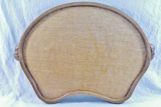 Workshop of Robert Thompson of Kilburn a Mouseman oak kidney shaped tray,