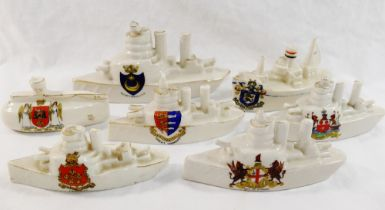 A collection of Great War naval related crested china comprised of a submarine and six ships and