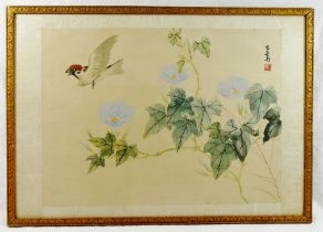Two Chinese paintings on silk of flowers and a bird, both signed and with printed character mark,