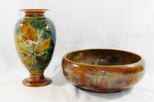 A Royal Doulton Autumn Leaf pattern vase, the mottled green ground with treacle glazed rim and foot,