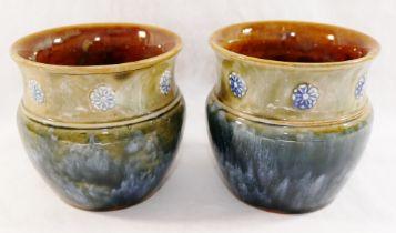 A pair of small Royal Doulton stoneware vases,