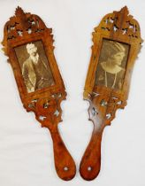 A pair of Sorrento olive wood fan panel photo frames, hand painted with swallows,