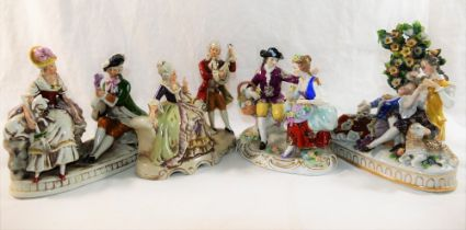 Two German porcelain Grafenthal figural groups of courting couples,