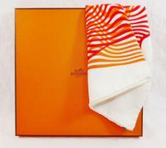 A Hermes 'Onde de Chic' cream ground silk scarf, designed by Dimitri Rybaltchenko, 89cm x 89cm,