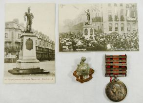A Second Boer War Queens South Africa medal and ribbon, awarded to Private T Barnes 8342,