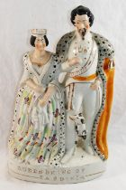 A 19th century Staffordshire flat back of the King and Queen of Sardinia,