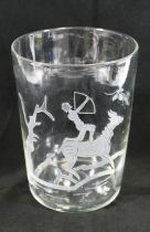 A large hand blown straight sided vase, with engraved design of an archer on horseback,