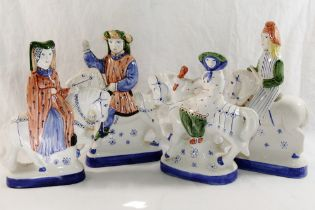 Four Rye Pottery Canterbury Tales figures on horseback, the tallest 22.