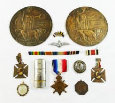 Two WWI bronze death plaques (drilled) for Private Alfred Huggett 47933, 3/5th Battalion,