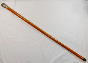 A Chinese malacca cane with silver coloured metal top,