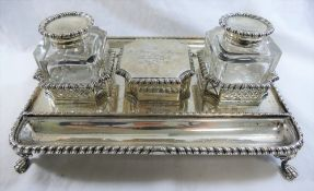 A late Victorian silver rectangular desk stand, London 1899 by Carington and Co.
