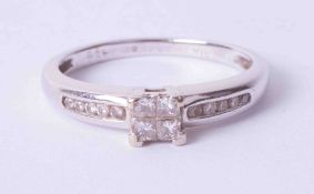 An 18ct diamond set ring, approx. 25 points, size P.