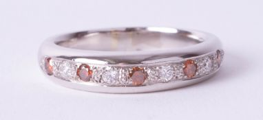 A platinum half band eternity ring set with fire opals and diamonds, size U, heavy gauge,