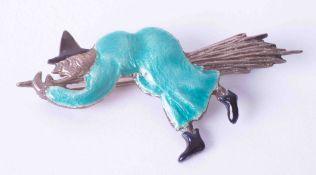 Bernard Instone enamel silver witch brooch.